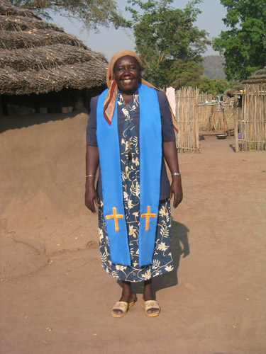 Woman wearing a blue stole for lay readers